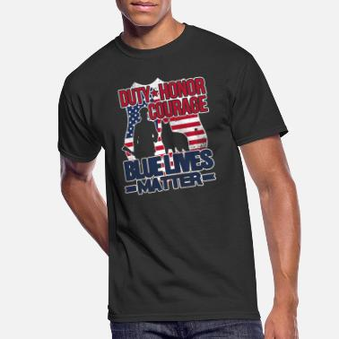Courage Blue Lives Matter Police Flag - Men's 50/50 T-Shirt