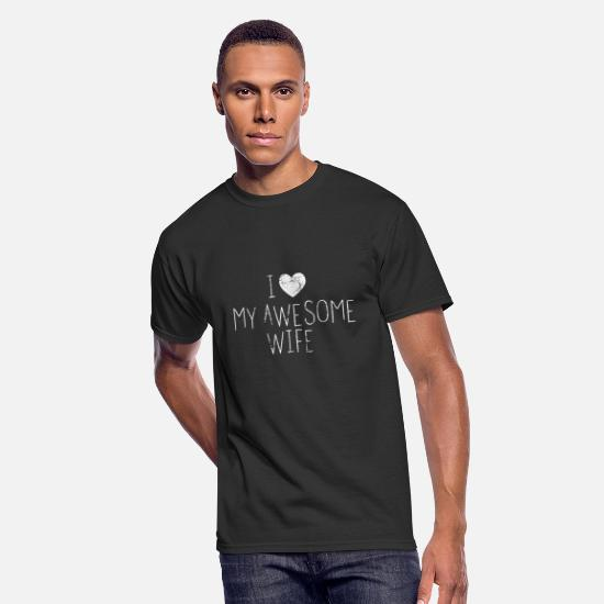 Love T-Shirts - Love My Awesome Wife Gift For Wife Valentine Heart - Men's 50/50 T-Shirt black