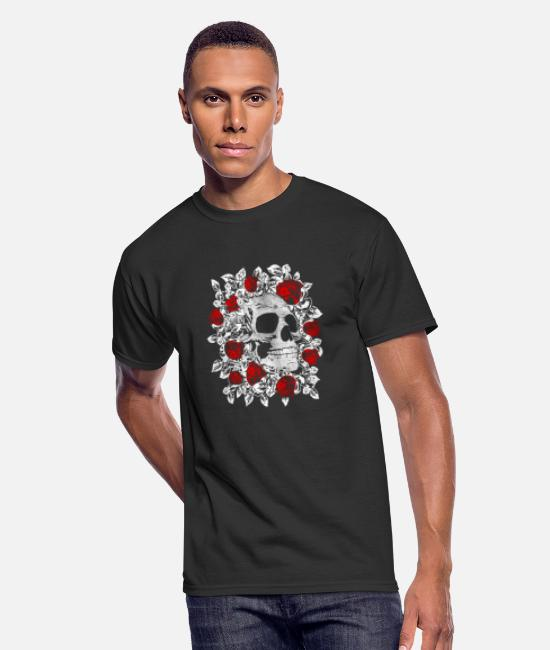 Red T-Shirts - Skull and red Roses - Men's 50/50 T-Shirt black
