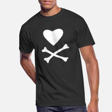 Crossed Bones Heart and Cross Bones - Men's 50/50 T-Shirt