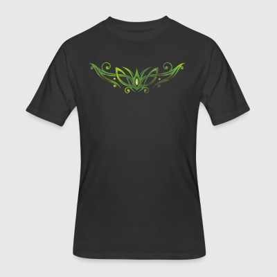 Filigree Tribal with gemstone. Watercolor, green. - Men's 50/50 T-Shirt