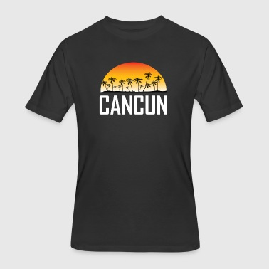 Cancun Mexico Sunset And Palm Trees Beach - Men's 50/50 T-Shirt