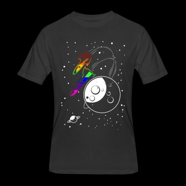 Gay Pride Love to the Moon and Back - Men's 50/50 T-Shirt