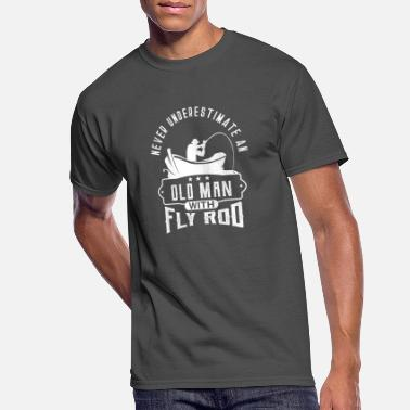 Fisherman T-Shirt Fishing Never Underestimate An Old Man With A Rod Mens Funny