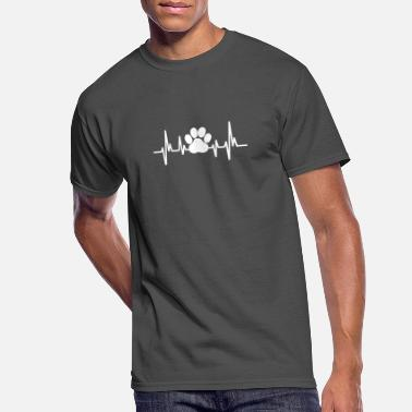 Dog Cat Paw Print Heartbeat for Dog Cat Lovers Tee - Men's 50/50 T-Shirt