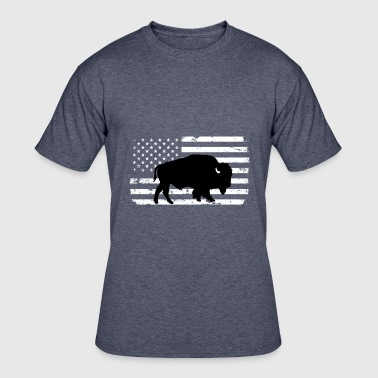 Wild Buffalo USA Flag and Wild Buffalo - Men's 50/50 T-Shirt