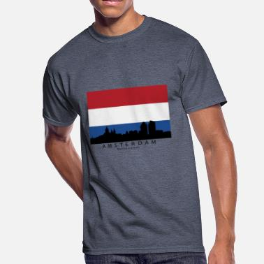 Dutch Amsterdam Amsterdam Netherlands Skyline Dutch Flag - Men's 50/50 T-Shirt