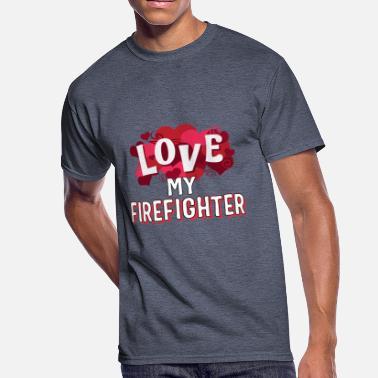 81433c534 Firefighter Couple Love My Firefighter Gift - Men's 50/50 T