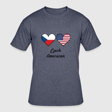 Czech American Czech American Flag Hearts - Men's 50/50 T-Shirt