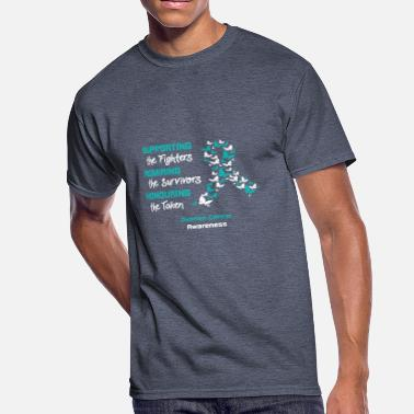 Ovarian Cancer Support Supporting The Fighters - Ovarian Cancer Awareness - Men's 50/50 T-Shirt