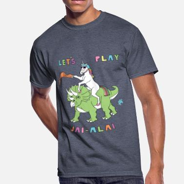 Jai Alai Let's Play Jai-Alai Unicorn Riding Dinosaur - Men's 50/50 T-Shirt
