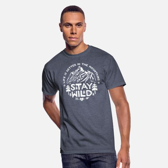 Camping T-Shirts - Stay Wild - white/distr. - Men's 50/50 T-Shirt navy heather