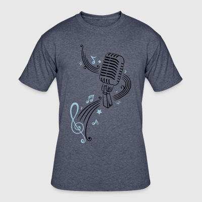 Retro microphone with music notes and clef. - Men's 50/50 T-Shirt