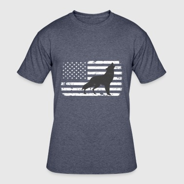 USA Flag with Lone Wolf - Men's 50/50 T-Shirt
