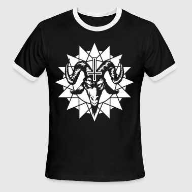 Satanic Goat Head with Chaos Star (inverted) - Men's Ringer T-Shirt