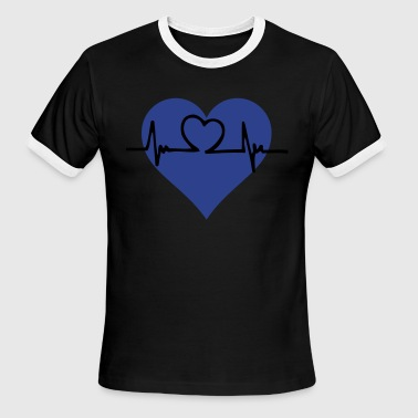 Heart heartbeat showing a pulse - Men's Ringer T-Shirt
