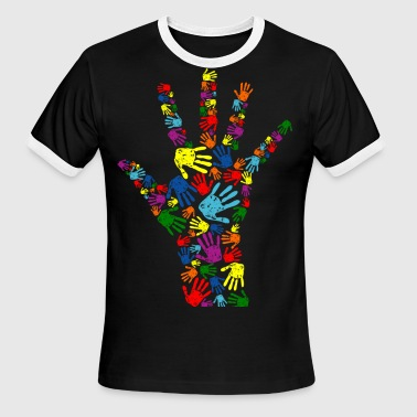 Hand Colored hand colorful - Men's Ringer T-Shirt