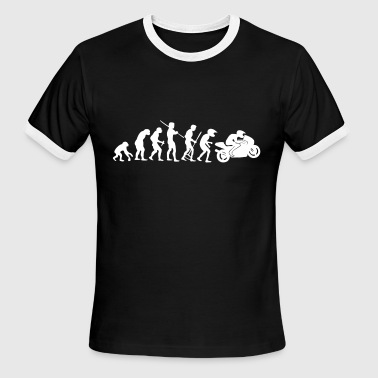 Evolution Motorcycle Motorcycle Rider Evolution Racing Supersport White - Men's Ringer T-Shirt