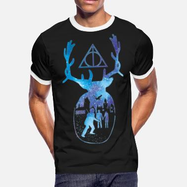 Deathly HP Harry Potter Patronus Deathly Hallows Hogwarts - Men's Ringer T-Shirt