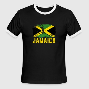 Jamaica Football Flag Of Jamaica Football - Men's Ringer T-Shirt