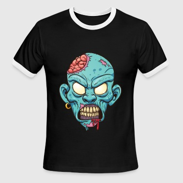 Horror Zombie head  - Men's Ringer T-Shirt