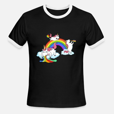 Unicorn Rainbow Fart Unicorn Drunken Puking Farting - Men's Ringer T-Shirt
