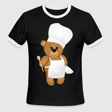 Cute Chef Teddy Bear - Men's Ringer T-Shirt
