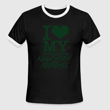 I Love Newyork Newyork Football - I Love My Husband & Newyork F - Men's Ringer T-Shirt