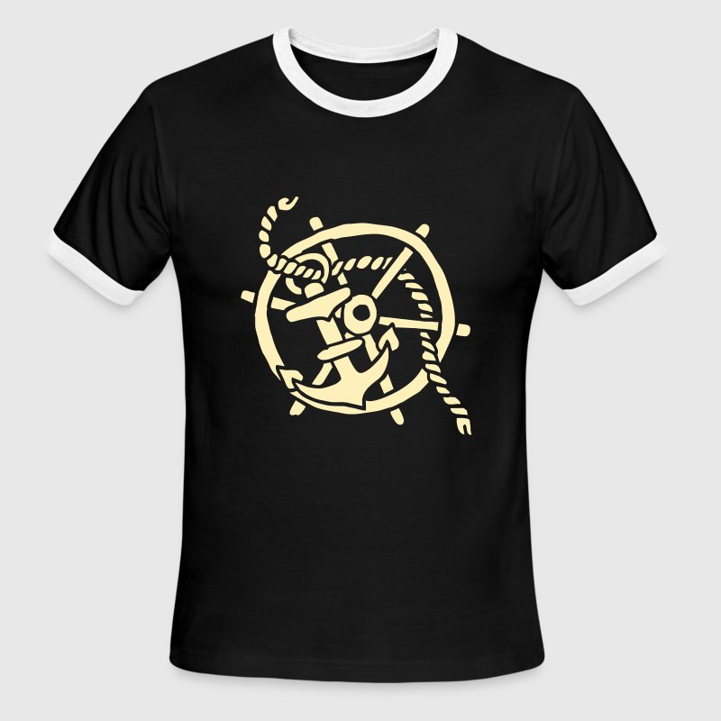 ship steering wheel vintage tattoo anchor sailing  - Men's Ringer T-Shirt