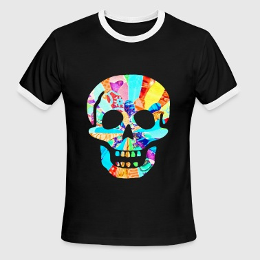 SCARY BIG NEON SKULL - Men's Ringer T-Shirt