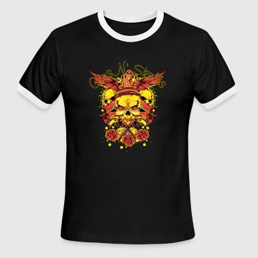 Skull Gun guns skulls - Men's Ringer T-Shirt