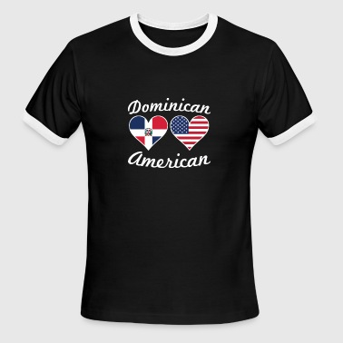 Dominican Republic Flags Dominican American Flag Hearts - Men's Ringer T-Shirt