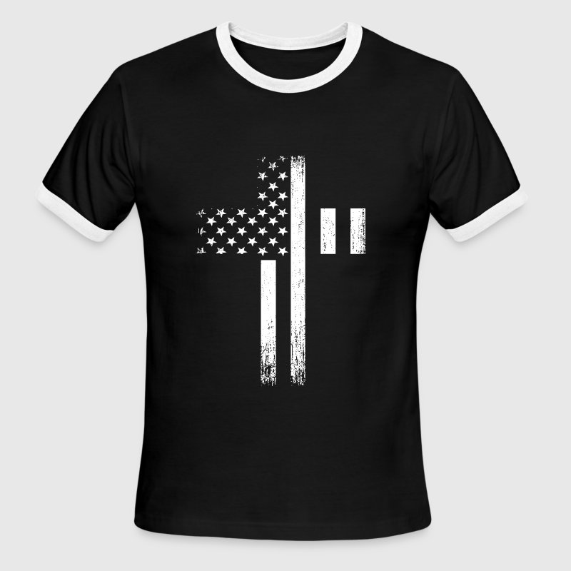 Vintage USA Flag Cross - Men's Ringer T-Shirt