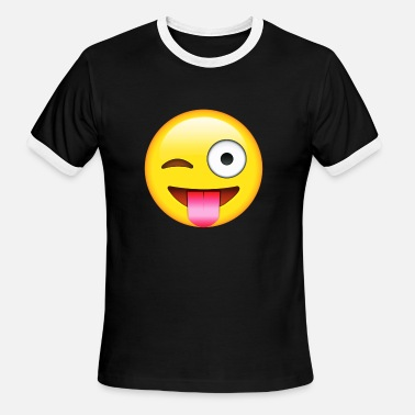Moji E-moji hot face with stuck out shirt - Men's Ringer T-Shirt