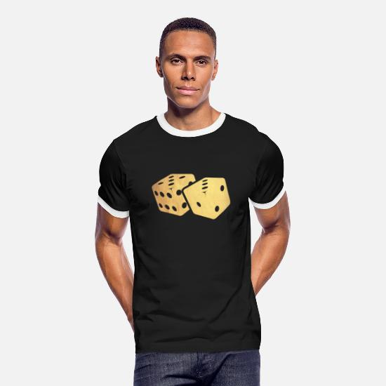 Gold T-Shirts - gold dice - Men's Ringer T-Shirt black/white