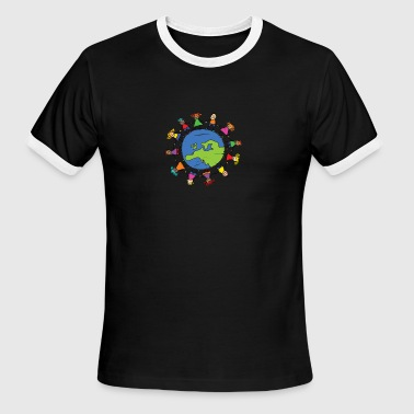 Protect The Environment Earth Day With Children - Men's Ringer T-Shirt