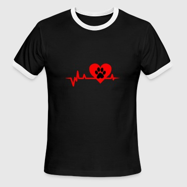 Paw Heartbeat (Cat paws heartbeat) - Men's Ringer T-Shirt