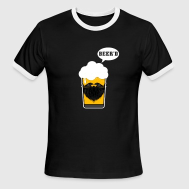 Beer Beard Beer Drinking Beard Funny Design for Beer Lovers - Men's Ringer T-Shirt