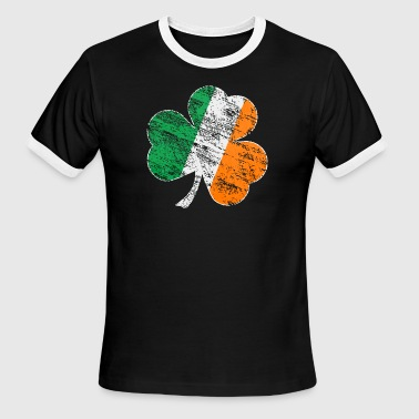 Vintage Distressed Irish Flag Shamrock - Men's Ringer T-Shirt