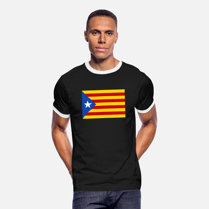 Independence T-Shirts - Estelada Blava - Men's Ringer T-Shirt black/white