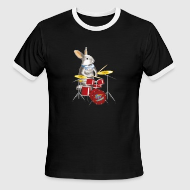 Musician Drums musician Rabbit with drum - Men's Ringer T-Shirt