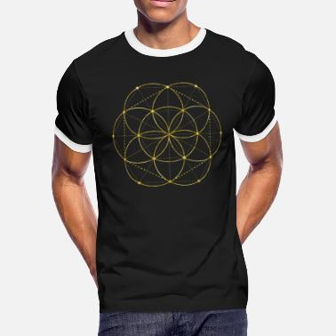 Golden Egg Of Life Sacred Geometry - Men's Ringer T-Shirt