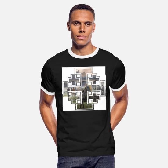 Jerusalem T-Shirts - Jerusalem Cross - Men's Ringer T-Shirt black/white
