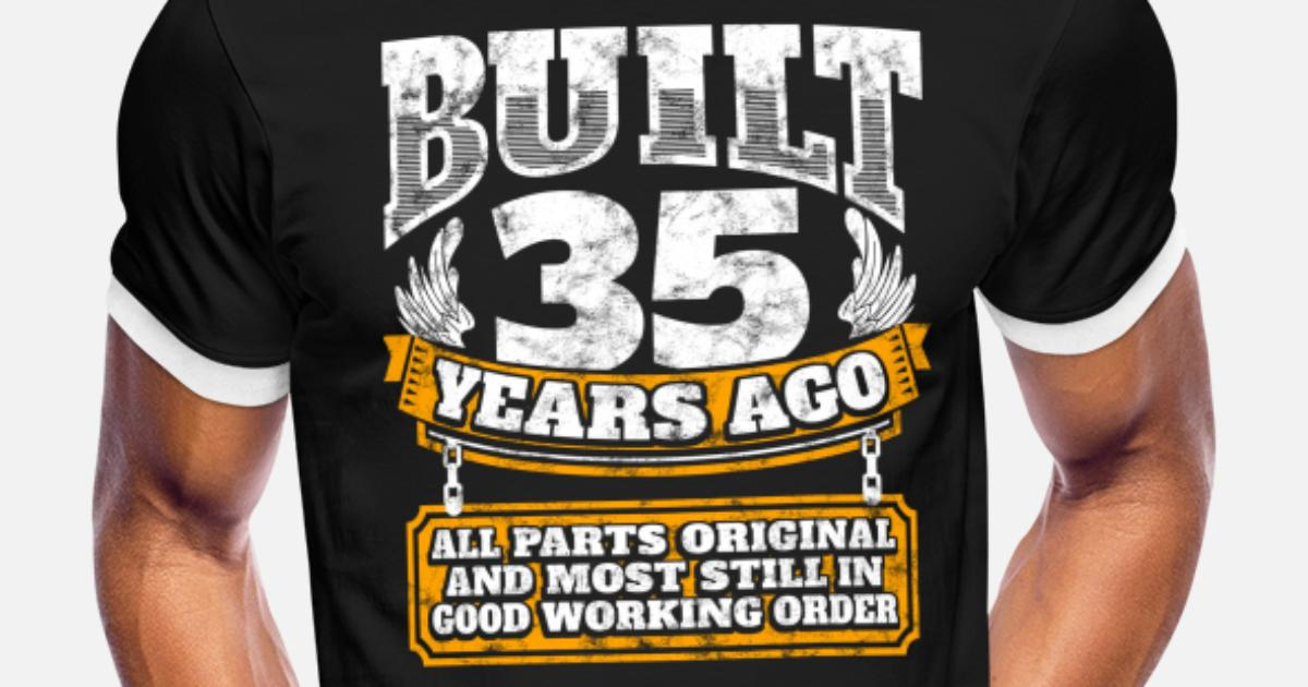 18th to 80th Birthday Gift Present Made In Contrast Mens Ringer T Shirt