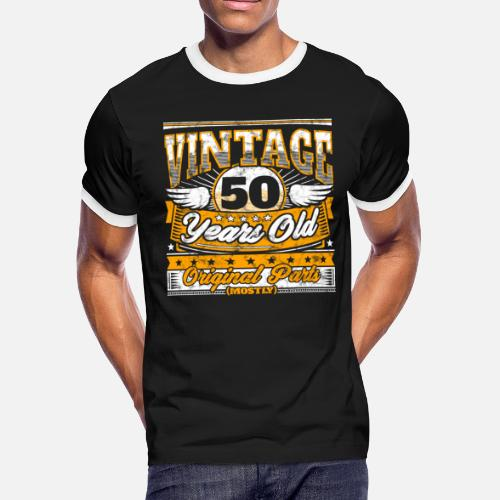 Funny 50th Birthday Shirt Vintage 50 Years Old Mens Ringer T Shirt