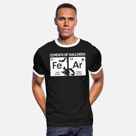 Chemistry T-Shirts - Element of Halloween Science Tee Shirt - Men's Ringer T-Shirt black/white
