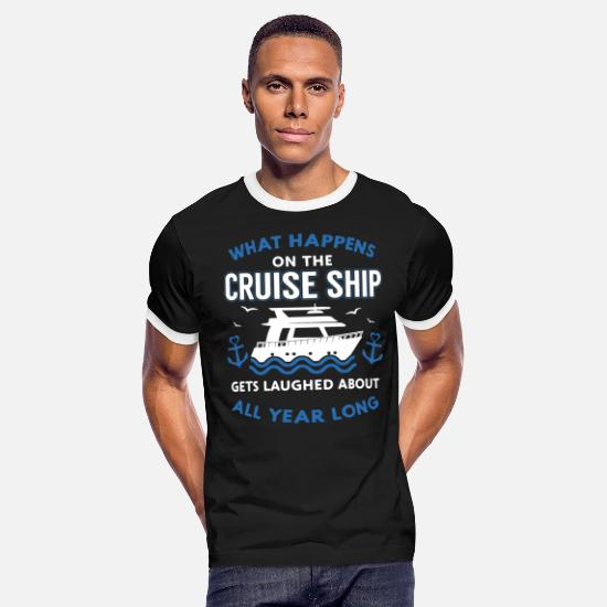 Cruise T-Shirts - What happens on the cruise ship gets laughed about - Men's Ringer T-Shirt black/white