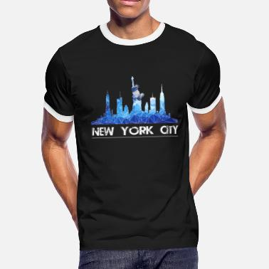 New York City New York Skyline New York City Skyline in blue - Men's Ringer T-Shirt