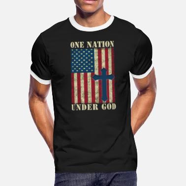 d7b8c1cba One Nation Under God 4th Of July Patriot Cross USA Flag - Men'. Men's  Ringer T-Shirt