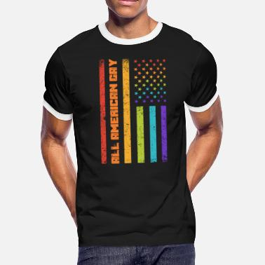 Gay Usa All American Gay - USA Flag 4th of July - Men's Ringer T-Shirt